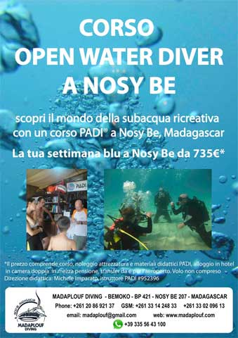 Corso PADI Open Water Diver a Nosy Be, Madagascar